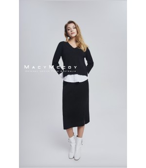 MacyMccoy four color shirt splicing half skirt suit-black
