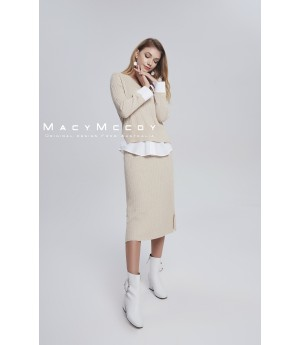 MacyMccoy four color shirt splicing half skirt suit-beige