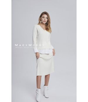 MacyMccoy four color shirt splicing half skirt suit-white