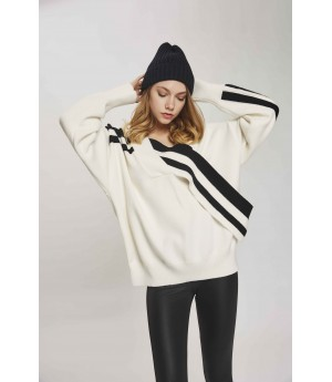 MacyMccoy Black And White Chest Cross Sweater-White