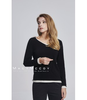 MacyMccoy two fake V woolen sweaters-black