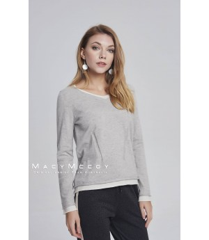 MacyMccoy two fake V woolen sweaters-gray