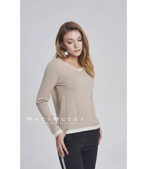 MacyMccoy two fake V woolen sweaters-khaki