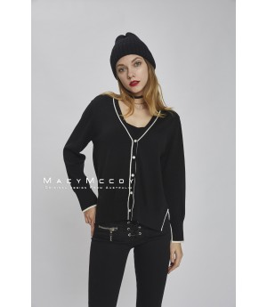 MacyMccoy color knit cardigan-black