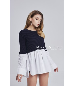 MacyMccoy Ice Linen Shirt Splicing TOP