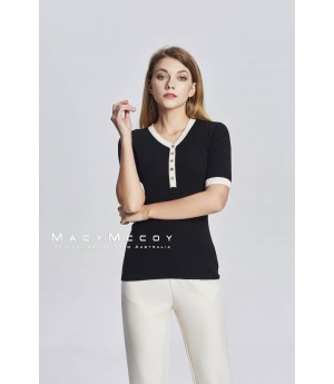 MacyMccoy V Collar Knitted Short Sleeves-Black