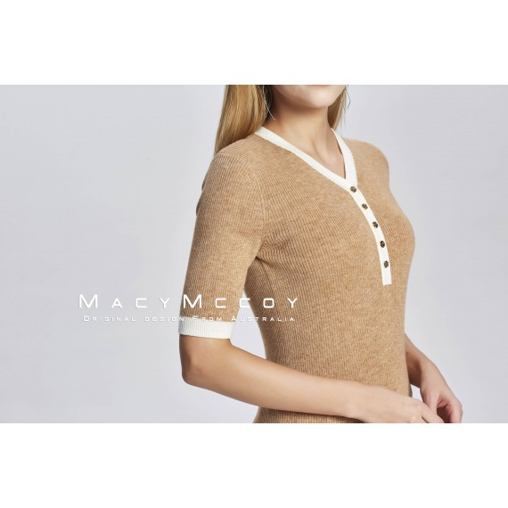 MacyMccoy V Collar Knitted Short Sleeves-Khaki