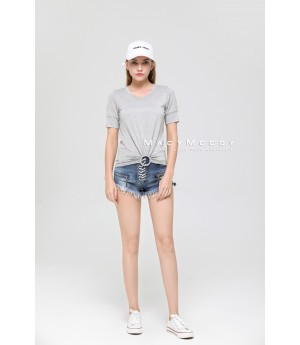 MacyMccoy Grey Ring Short Sleeves