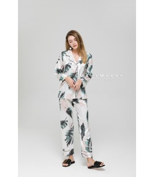 MacyMccoy Silk Pajamas Suit-White