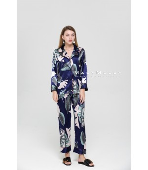 MacyMccoy Silk Pajamas Suit-Blue