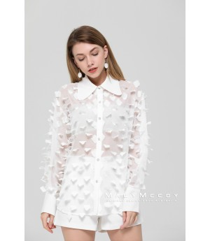 MacyMccoy Transparent Three-Dimensional Petal Shirt-White