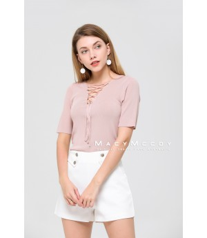 MacyMccoy The Collar Band Of Ice Short Sleeved Linen-Pink