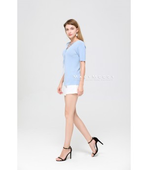 MacyMccoy The Collar Band Of Ice Short Sleeved Linen-Blue