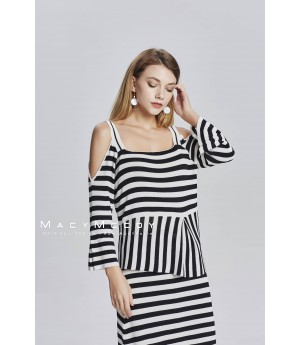 MacyMccoy Black And White Striped Strapless Half Skirt Suit