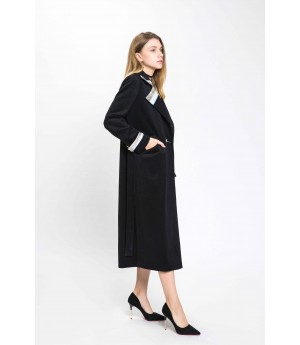 MacyMccoy Black Wool Overcoat