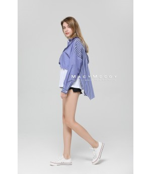 MacyMccoy Blue Striped Shirt Splice Coat