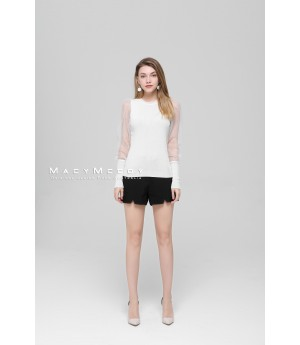 MacyMccoy Transparent Sleeve Ice Linen Top-Whtie
