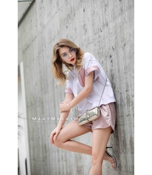 MacyMccoy four color leather short sleeves-White and Pink