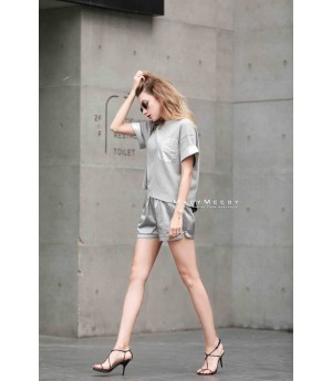 MacyMccoy four color leather short sleeves-Grey and Silver