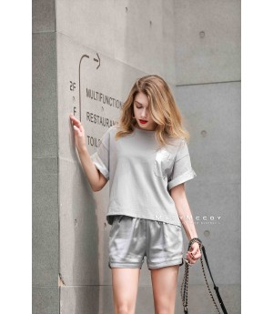 MacyMccoy four colored metal shorts-Silver