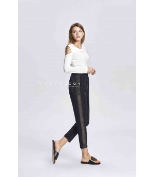 MacyMccoy transparent metal ribbon stitching trousers
