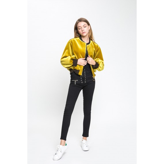 MacyMccoy Velvet Baseball Jacket-Mustard Yellow