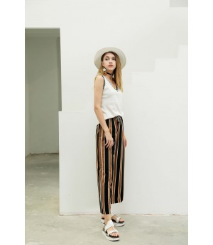 MacyMccoy vertical striped frenulum and broad leg trousers-Caramel Color