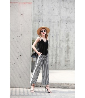 MacyMccoy black and white vertical striped broad leg pants