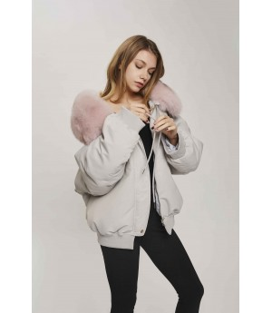 MacyMccoy Short and Irregular Woolen Jacket-Gray