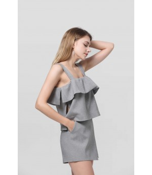 MacyMccoy shoulder skirt suit-Grey