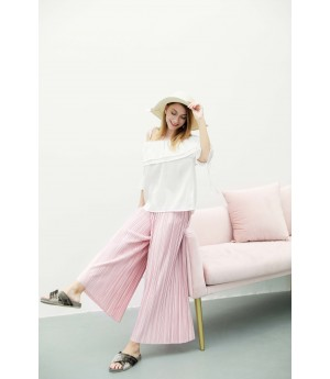 MacyMccoy Four color folded broad leg trousers-Pink