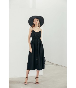 MacyMccoy A long dresses with a sling-Black