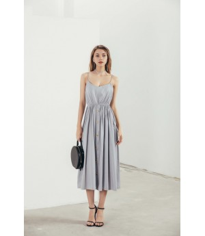 MacyMccoy A long dresses with a sling-Grey