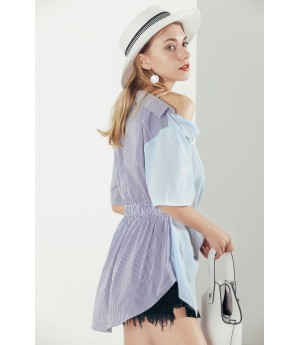 MacyMccoy blue irregularly shoulder shirt
