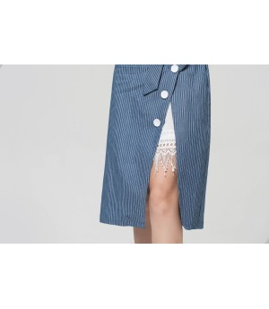 MacyMccoy blue striped shirt half skirt