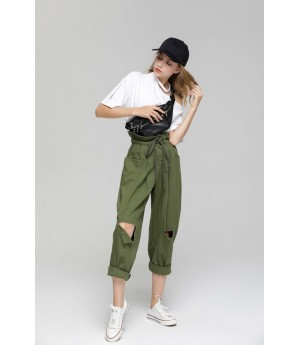 MacyMccoy Hole wear pants-Green