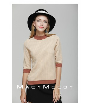 MacyMccoy coloring grid ice hemp short sleeves-Khaki