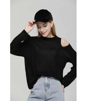 MacyMccoy Super thin shoulder sweater-Black