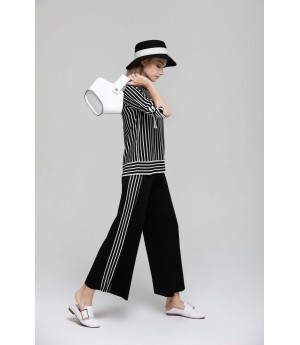 MacyMccoy vertical striped butterfly ice linen suit-Black