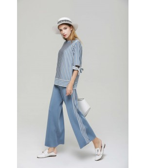 MacyMccoy vertical striped butterfly ice linen suit-Blue