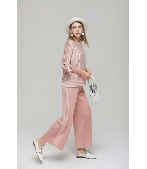 MacyMccoy vertical striped butterfly ice linen suit-Pink