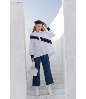 MacyMccoy diagonal striped knitted shoulder shirt