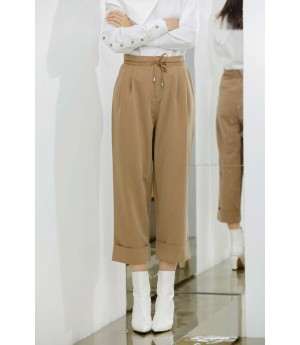 MacyMccoy casual nine points wide leg pants-Khaki