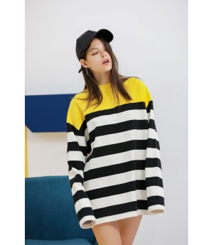 MacyMccoy black and white striped yellow sweater