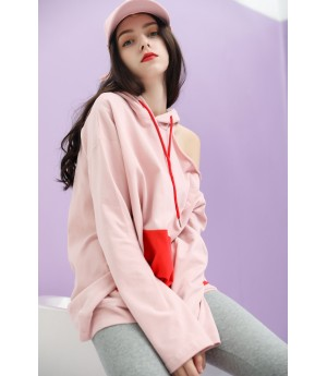 MacyMccoy Unilateral off Shoulder hoodie-Pink