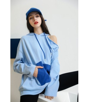 MacyMccoy Unilateral off Shoulder hoodie-Blue