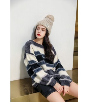 MacyMccoy stripe sweater-Grey and Blue