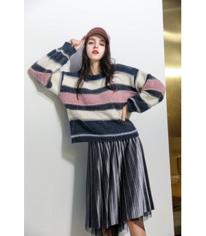 MacyMccoy stripe sweater-Grey and Pink
