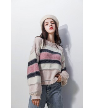 MacyMccoy stripe sweater-White and Pink