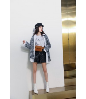 MacyMccoy fake two tweed stitching shirts